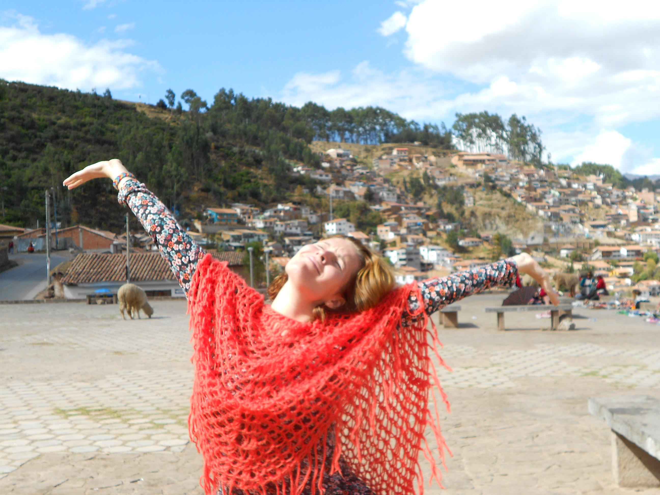 Nanda Berwers happy in Cusco